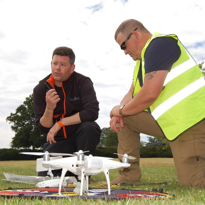 preparing to launch a drone during a war game simulation